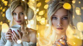 Photoshoot with Christmas Lights